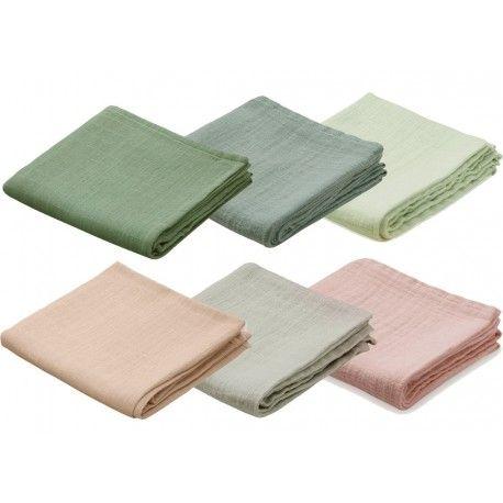 Een heerlijk zachte tetradoek van biologisch katoen beschikbaar in zes sprekende kleuren: zacht roze, grijs, petroleum, mintgroen, blush-roze en...