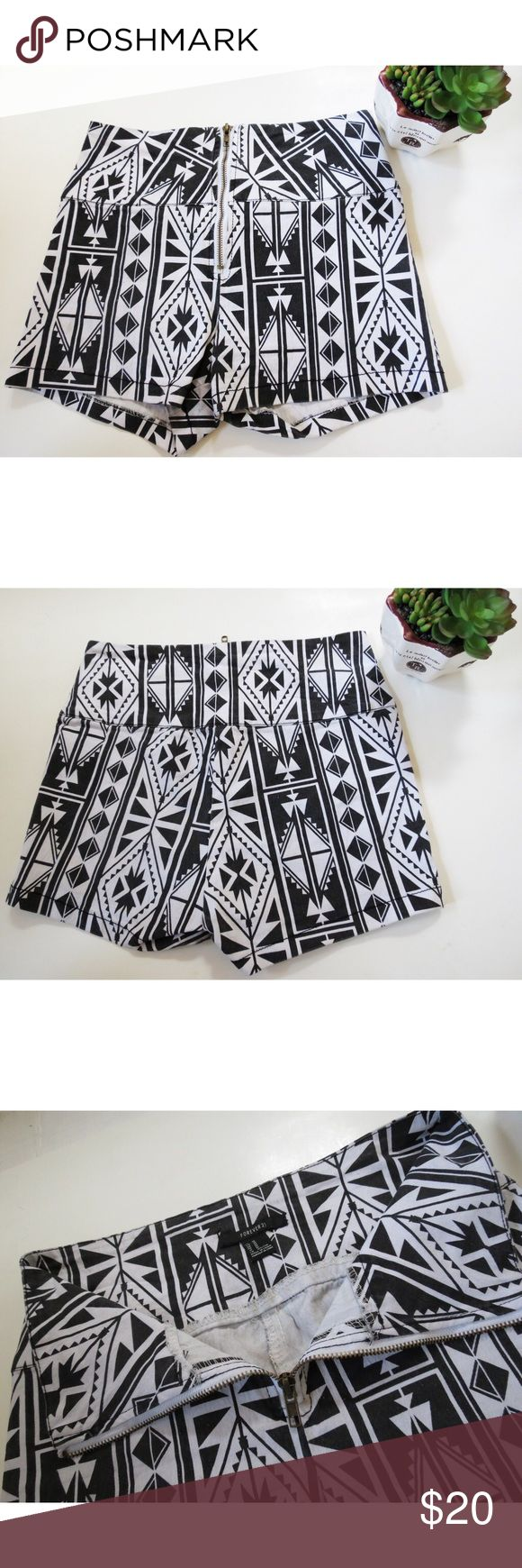 NWOT Forever 21 Aztec print high waisted shorts 🆕 Brand new with tags high waisted Aztec printed shorts. These shorts are super cute with a black and white Aztec print, front zipper, and the perfect high waisted fit! Size medium with great stretch. Forever 21 Shorts