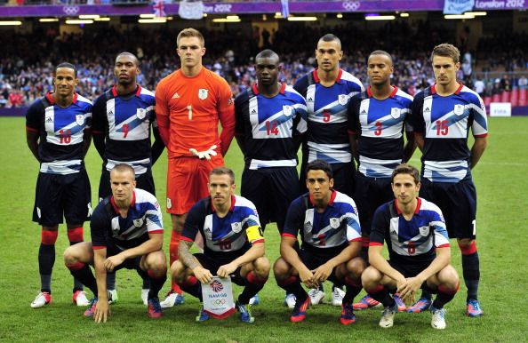 Britain's players pose for a team photo before the London 2012 Olympic Games men's football match between Britain and Uruguay at the Millennium Stadium in Cardiff, Wales, on August 1, 2012