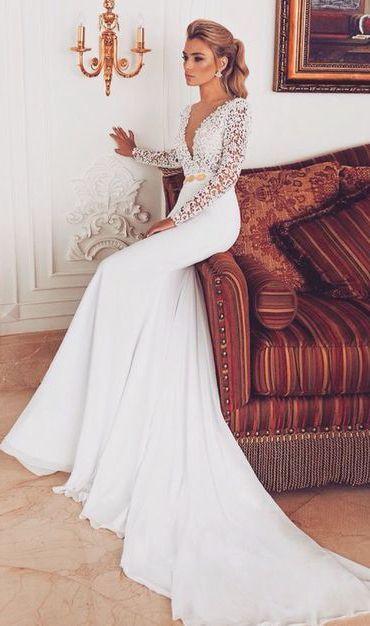 2017 customized white wedding dress, lace long-sleeved wedding dress, deep v-neck party dress, see through pegeant dress