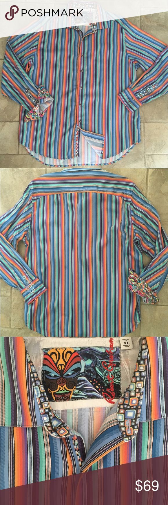 Robert Graham Men's Classic Fit Shirt Multi  XL Robert Graham Men's Sports Shirt  Color-Multi  Size XL Classic Fit  Contrasting details in cuffs and collar Wisdom, Knowledge, Truth embroidered on the Shirt tail This Robert Graham Shirt is gently used. Overall condition is extremely good, only flaw is on the inside yoke which is unseen when worn (see photos)Otherwise, there are no rips, tares, holes, or stains. No missing buttons Retail MSRP -$248 Robert Graham Shirts Casual Button Down…