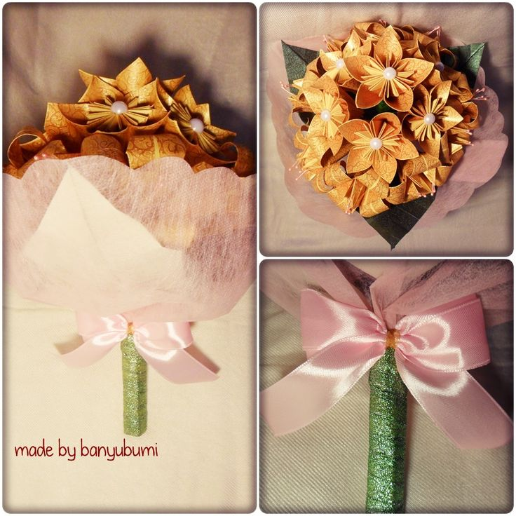 Kusudama flower origami bouquet | Gold paper | Instagram @made_by_banyubumi | #origami #paperfolding #origamiflower #bouquet #flower #handmade #DIY #origamiwork