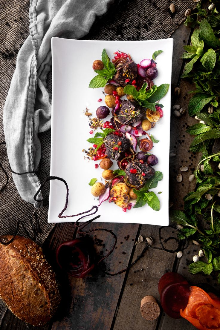 "Pomegranate Braised Lamb Loin Chops with Fresh Herb Salad | ""A Bachelor and His Grill"""