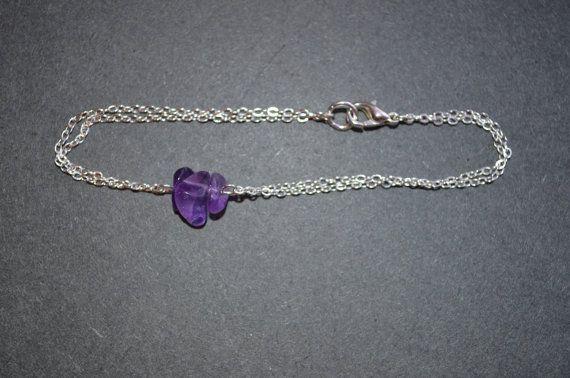 Amethyst Bracelet Dainty Silver Chain Bracelet by IndigoLizard
