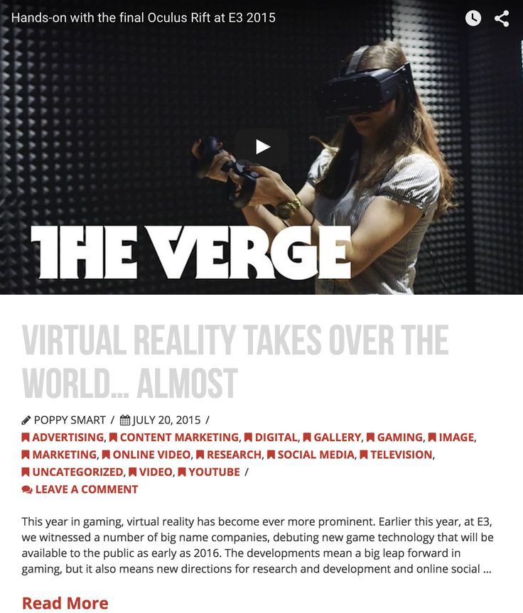 Virtual Reality Takes Over the World... Almost - 20/7/15 -www.dicelondon.com/virtual-reality-takes-over-the-world-almost/