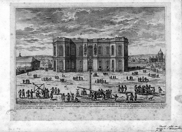 L'Observatoire du Roi par Claude Perrault. - 3) CLASSICISME ET ARCHITECTURE: CLAUDE PERRAULT (1613-1688): il dessine les plans de l'Observatoire de Paris entre 1667 et 1672. Il travaille également à Versailles, dont il dessine des intérieurs et fournit le plan de la grotte de Thétis, du bain de Diane et du Grand Canal.