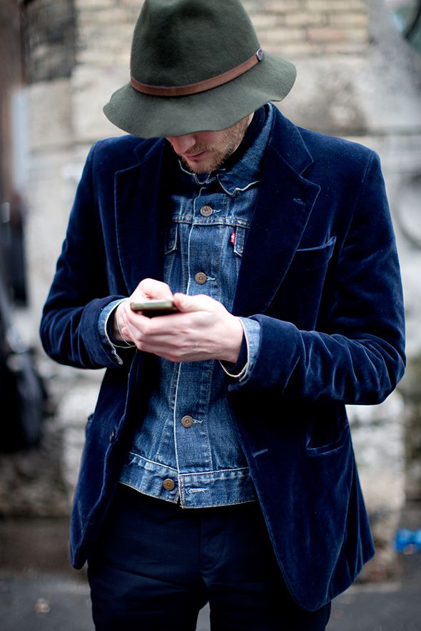 Love the idea of layering denim under a different texture, for men or women. Only an Italian can carry off velvet though!! http://images.thesartorialist.com/thumbnails/2014/04/11314hat3938web1.jpg