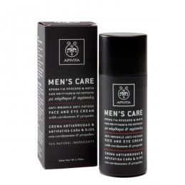 MENS CARE Anti-Wrinkle, Anti-Fatigue Face and Eye Cream with cardamom & propolis. #AntiWrinkle Action #Moisturization #Rejuvenation #CombatingofDarkCircles #Puffiness Face and eye cream that combats wrinkles and fatigue signs, moisturizes and protects from premature aging, while toning and rejuvenating. Read more at www.apivita.com