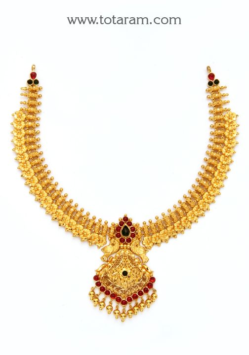 22K Gold 'Peacock' Necklace (Temple Jewellery)