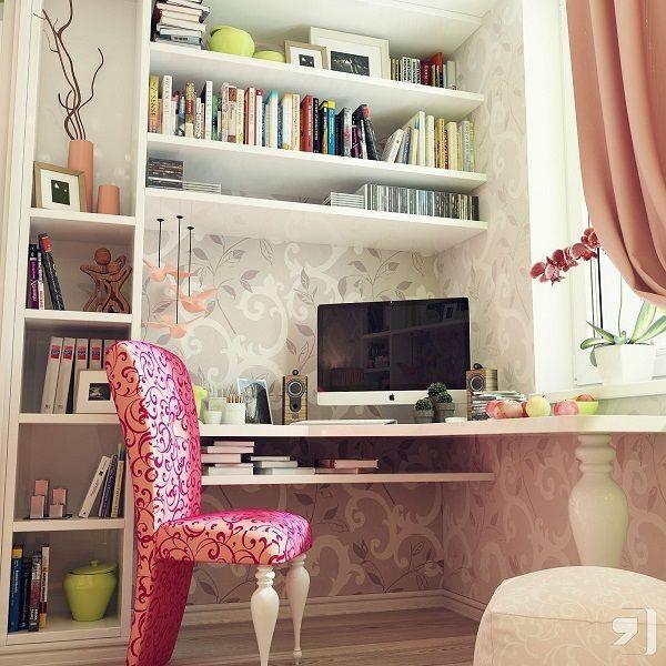 11-amenajare birou pe colt cu rafturi dormitor mic