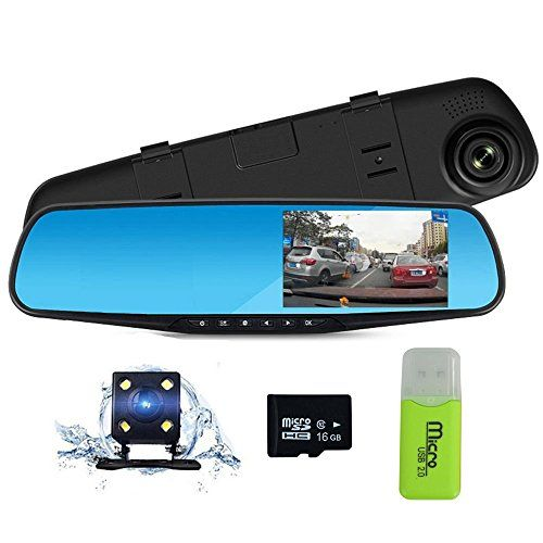 "Dash Cam 1080P Full HD 4.3"" LCD Rearview Mirror Car Video Recorder Dual Lens Vehicle Camera Car DVR Road Dash Cam with Night Vision Motion Detection USB cable with 16GB C10 Micro SD Card. For product info go to:  https://www.caraccessoriesonlinemarket.com/dash-cam-1080p-full-hd-4-3-lcd-rearview-mirror-car-video-recorder-dual-lens-vehicle-camera-car-dvr-road-dash-cam-with-night-vision-motion-detection-usb-cable-with-16gb-c10-micro-sd-card/"
