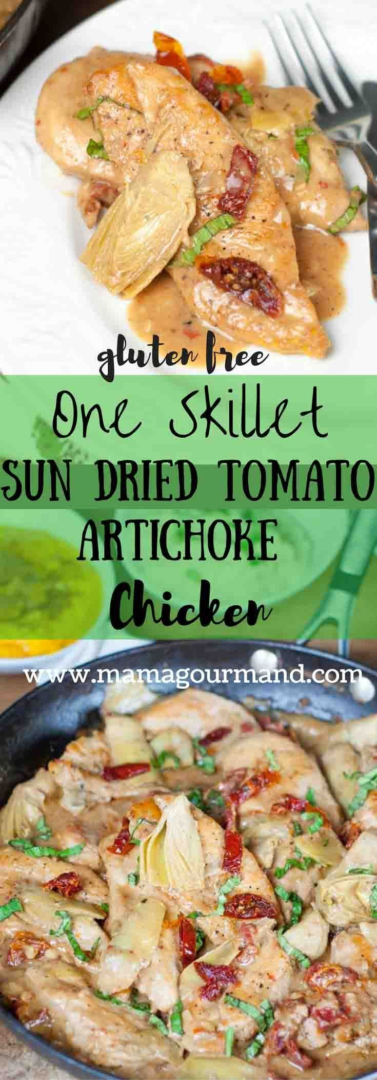 Sun Dried Tomato Artichoke Skillet Chicken with Alexia sides is an easy, one pot weeknight meal on your table in 30 minutes, but tastes anything but simple!