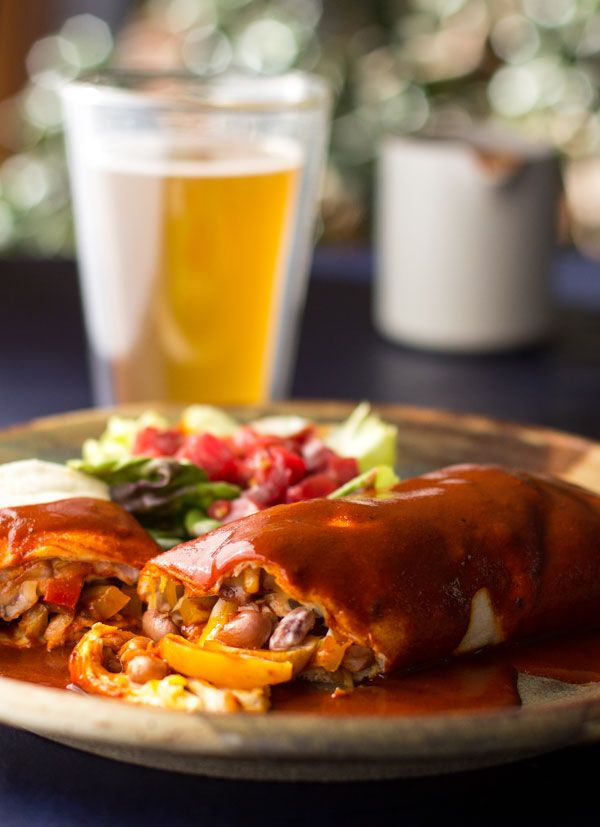 Fajita Bean Burritos Smothered in Red Chile