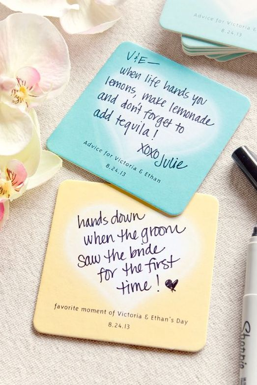 Cute Coasters -- Advice for the newlyweds!