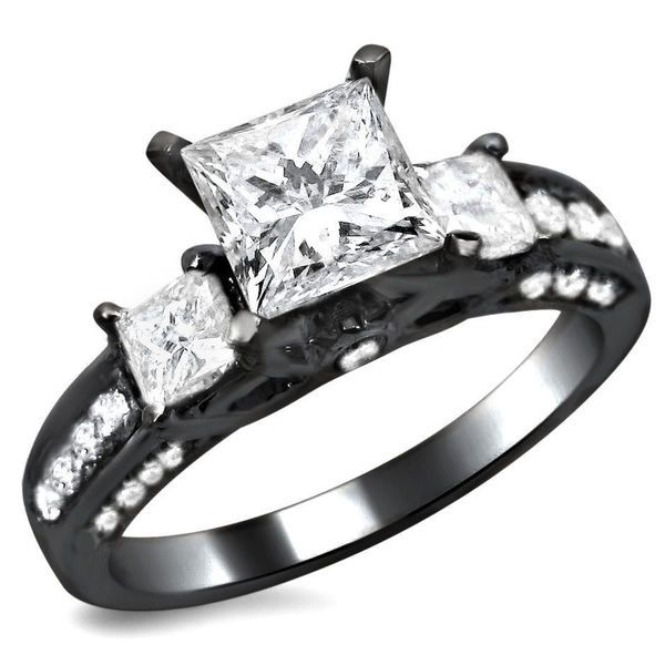 Noori 14k Black Gold 1 1/2ct TDW 3 Stone Princess Cut Diamond Engagement Ring - Overstock™ Shopping - Top Rated Noori Collection Engagement Rings
