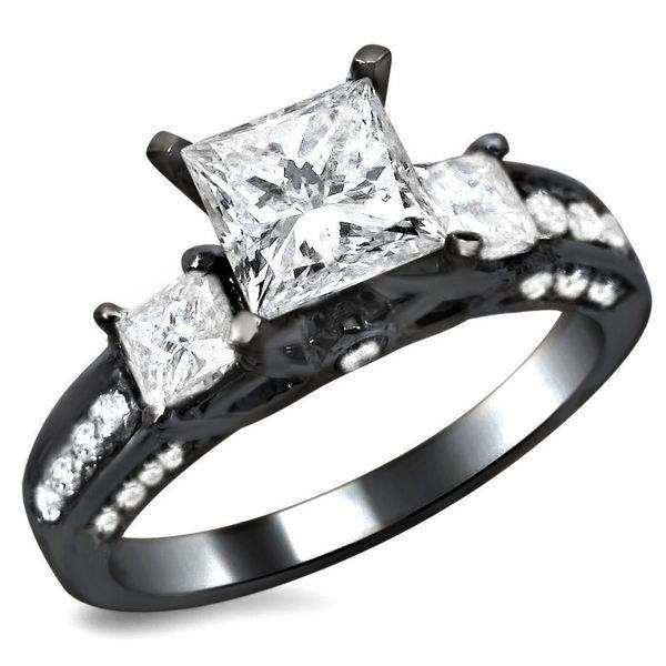 noori 14k black gold 1 12ct tdw certified 3 stone enhanced princess cut diamond engagement ring by noori collection - Walmart Jewelry Wedding Rings