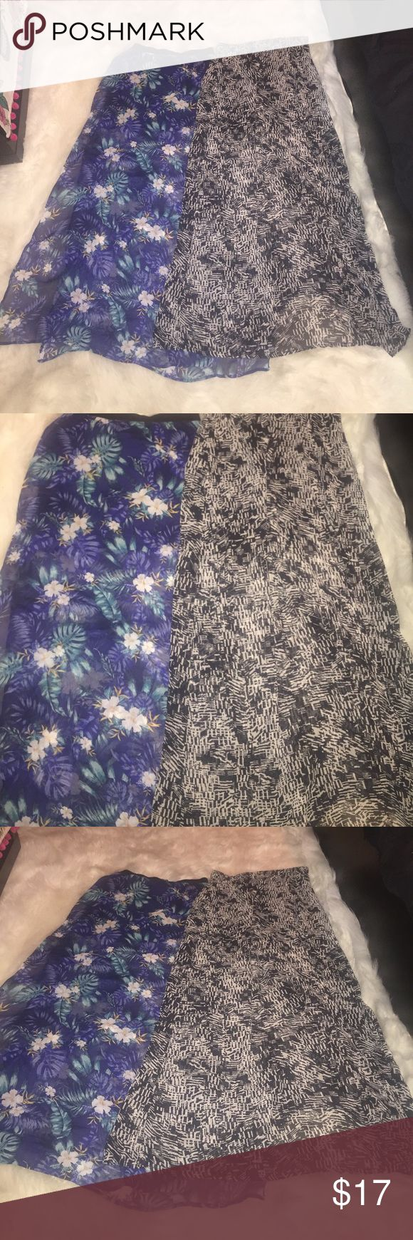 ✨black frieday sales✨2 skirts Feel free to make an offer/ the tropical skirt is from h&m size 2 and the other black skirt is from forever 21 size small Skirts Maxi