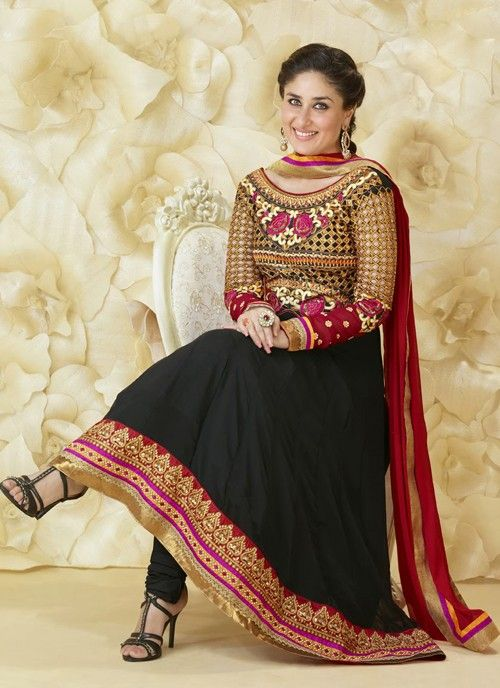 Eye Catching Black Embroidered Flared Anarkali Suit