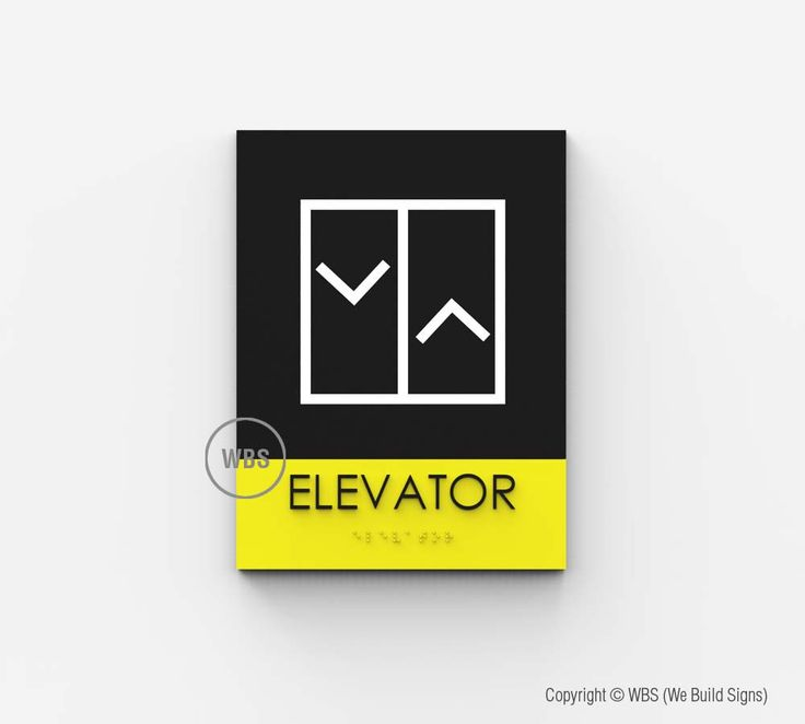"Elevator sign, designed to be compliant with ADA signage regulations. 1/8"" thick…"