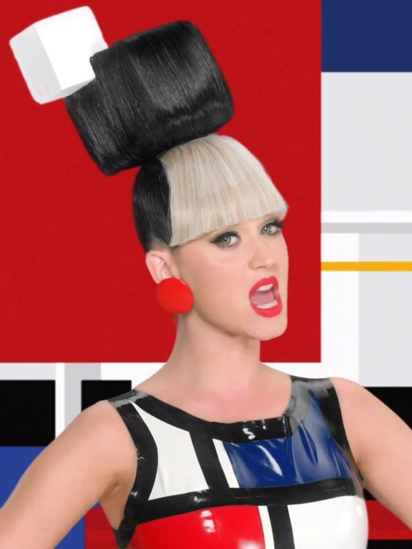 """Katy Perry's Mondrian look in """"This is How We Do"""": http://beautyeditor.ca/2014/08/02/katy-perry-this-is-how-we-do/"""
