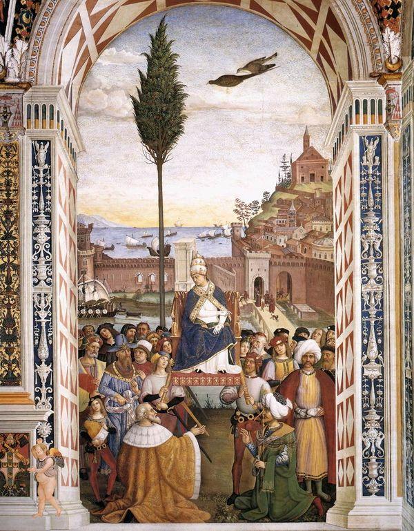 Папа Римский Пий II  ожидает прибытия кораблей союзников в Асконе
