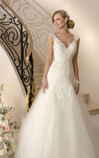 Simply stunning. Love this.  Wedding Dresses - Lace Cap Sleeve Wedding Dress by Stella York - Style 5949