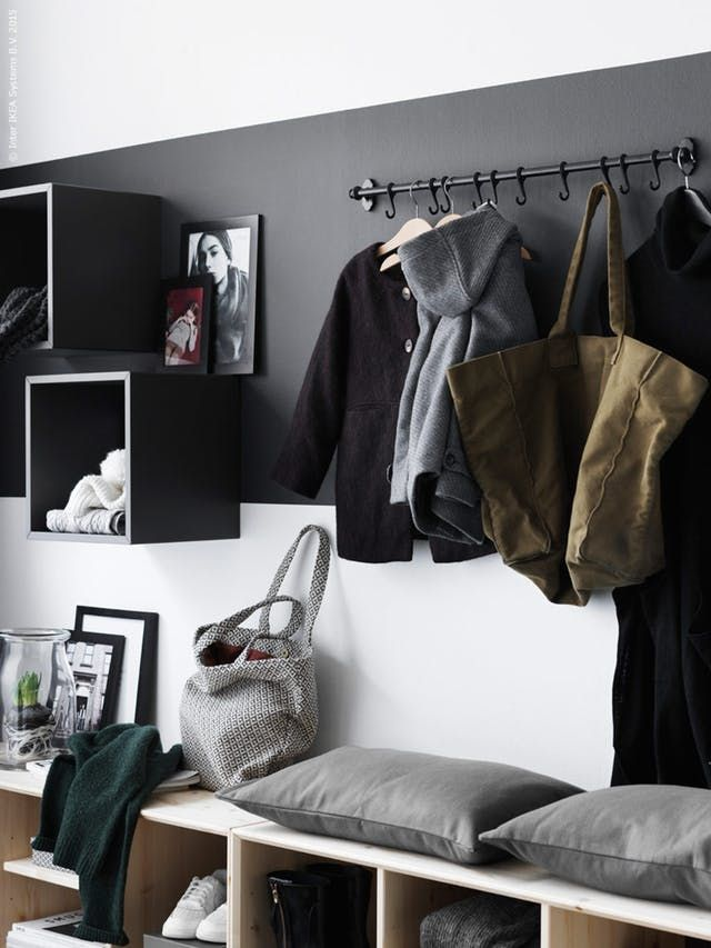 Between jackets, purses, mail and an ever-growing mountain of shoes, the entryway is a tough spot to keep under control—and less square footage unfortunately means even more mayhem