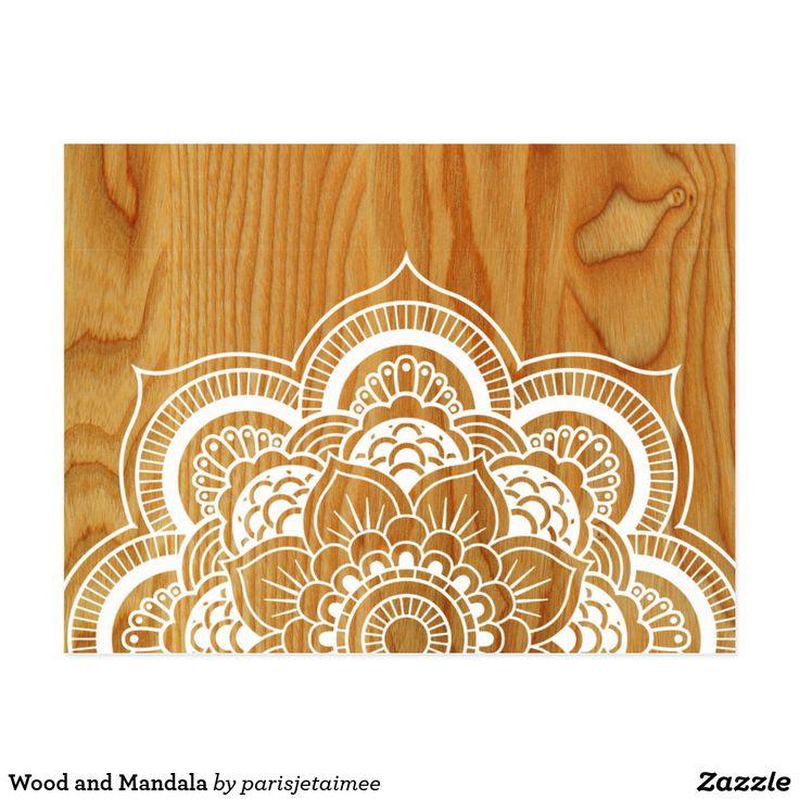 Wood and Mandala Postcard #boho #mandala #wood #bohemian