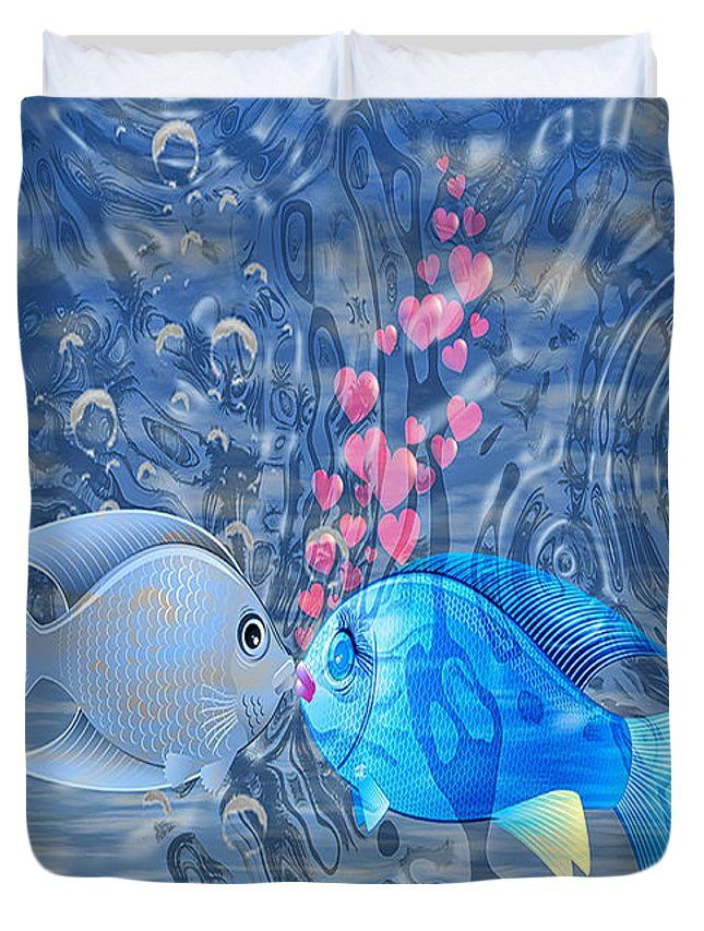Adorable Duvet Cover featuring the digital art Fish In Love by Eleni Mac Synodinos
