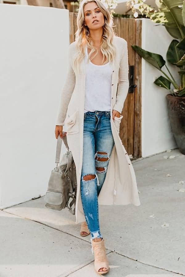 Women White Pocket Button Casual Long Cardigan Sweater –