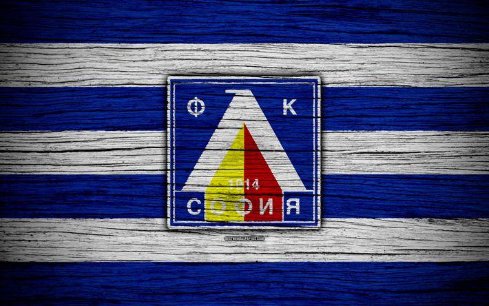 Download wallpapers Levski FC, 4k, Parva Liga, soccer, football, Bulgaria, PFC Levski Sofia, logo, wooden texture, football club, FC Levski