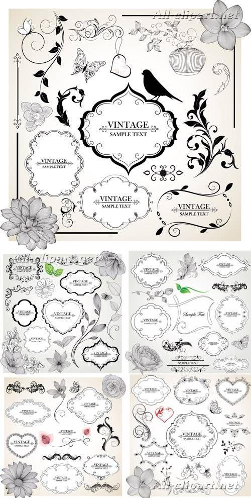 Декоративные рамки и элементы декора - винтажный вектор   Floral vintage decor vector