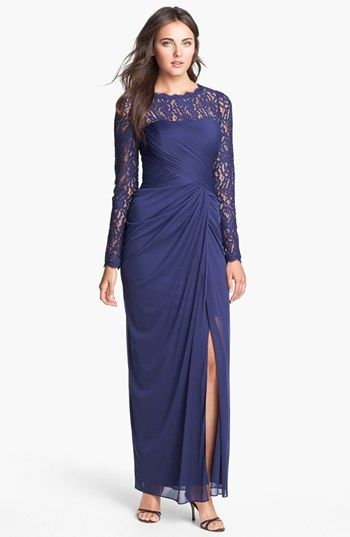 "Adrianna Papell Illusion Sleeve Draped Mesh Gown available at #Nordstrom.  This color is ""dusk"", I always love the illusion type top w/sleeves, the rest of the dress maybe too ""bridesmaidy""?"