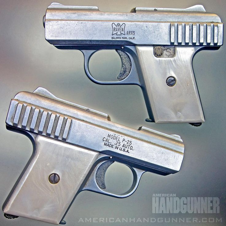 These two old birds will still help keep bad guys away. The Raven .25 Auto. Between 1970 and 1991 around two million of them were made. Even though small, they were well built and still are one of the most reliable guns ever made. More in the May/June 2018 issue of American Handgunner.  #merica #2a #righttobeararms #igmilitia #pewpewlife #raven #throwbackthursday