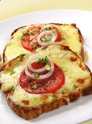 Whole grain bread Low-fat Mozzarella cheese, sliced thick tomato slices, white onion slices Turkey Bacon (optional!!) Green onions cut up .