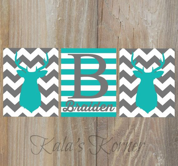 Deer nursery Deer wall art Deer decor Deer art Deer teal gray chevron nursery by KalasKorner, $27.00