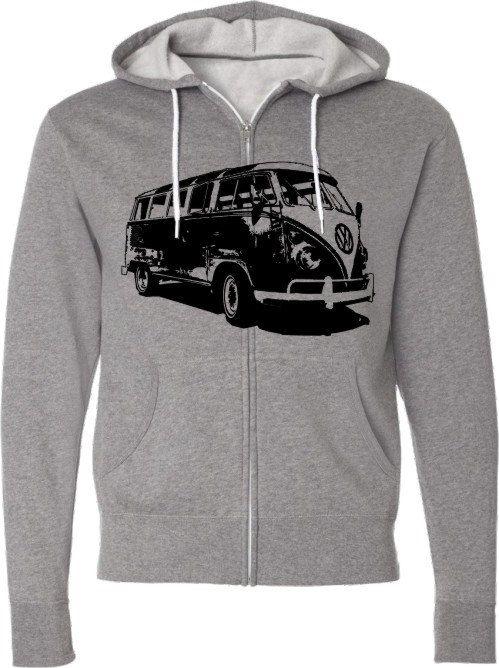 Volkswagen Van Car Hoodie-Retro VW Van with Windows- Zippered Hooded Sweatshirt-Gift for Dad