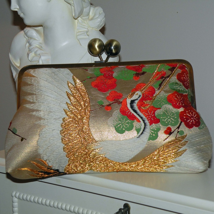 Silk Kimono Fabric Bag/Purse/Clutch..Embroidered Flying Crane..Cherry Blossom..Large 10 inch Frame. $150.00, via Etsy.