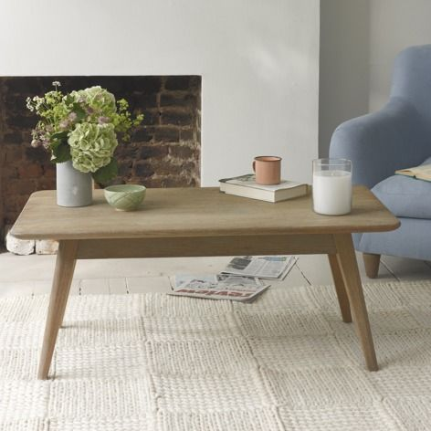 Hill Billy coffee table with Monty armchair in cloud blue vintage linen