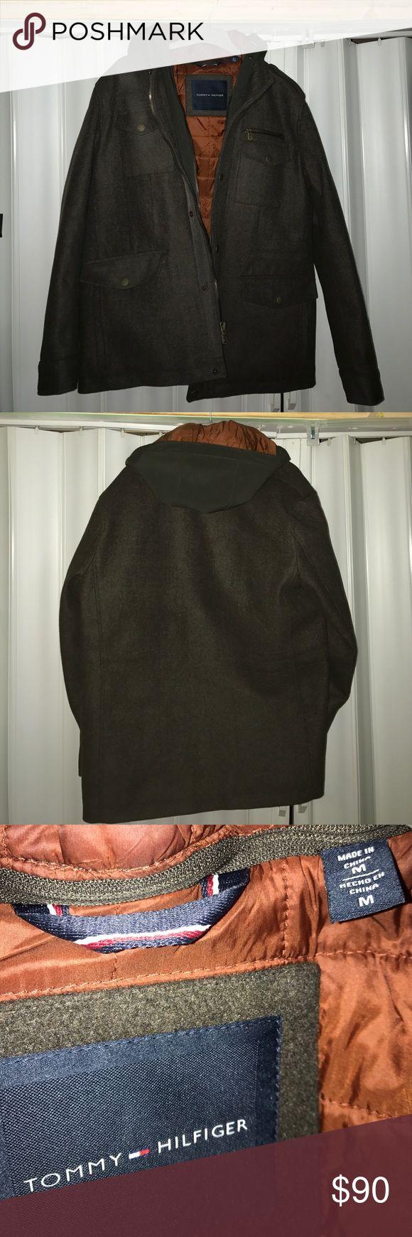 Tommy Hilfiger Men's wool jacket Dark grey wool jacket, weatherproof hood, inside zipper pocket, worn once, very good condition, very warm Tommy Hilfiger Jackets & Coats Pea Coats