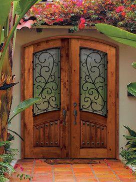 I love the scroll!! Prehung Double Door 96 Solid Knotty Alder Bellagio Arch Top Arch Lite - mediterranean - front doors - US Door & More Inc