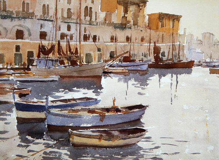 Edward Seago (1910 — 1974, UK) Fishing Boats, Ponza.  watercolor. 27.9 x 38.1 cm. (11 x 15 in.)
