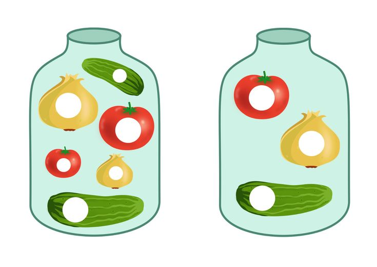 Овощи в банке - игра с пуговицами