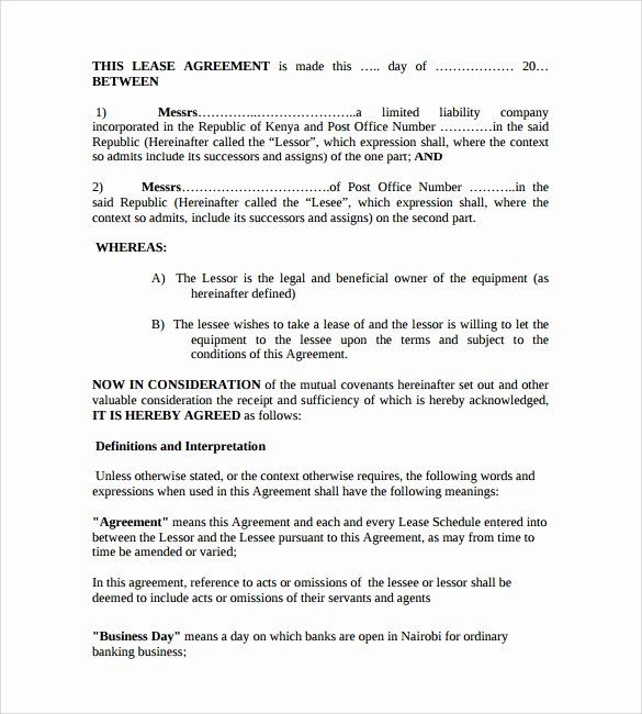 Equipment Rental Form Template Unique 11 Equipment Lease Forms To Download For Free Rental Agreement Templates Templates Job Application Template