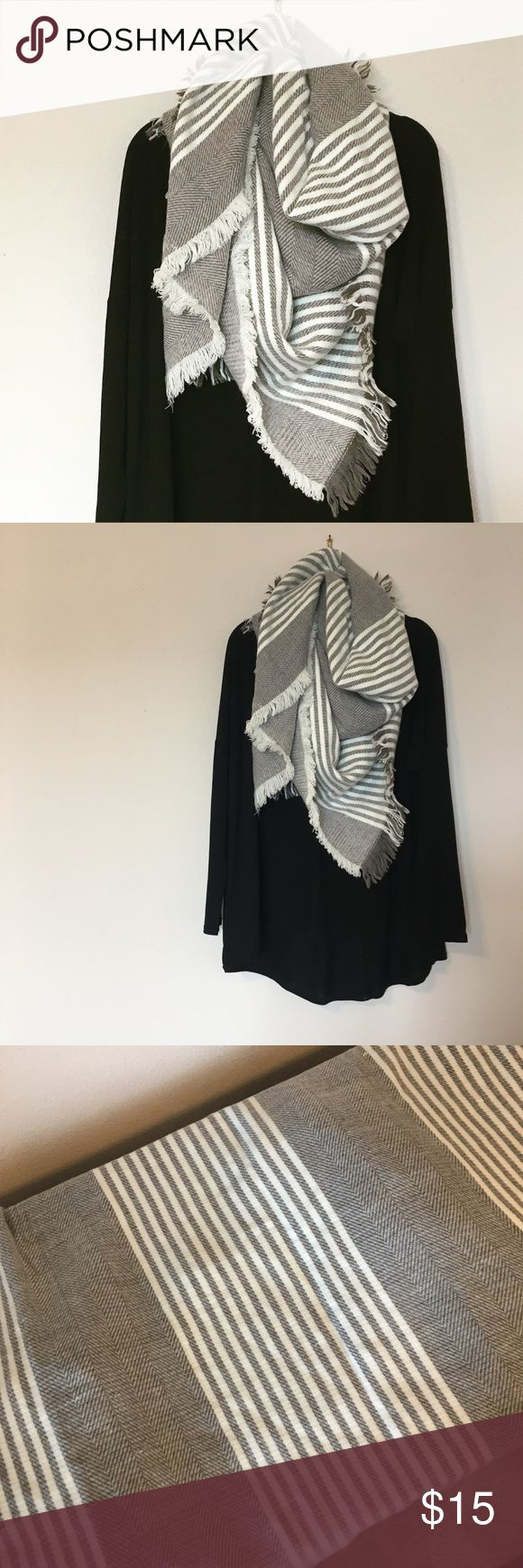 Oversized Blanket Scarf from Nordstrom Worn a few times. Could sleep in this thing. It is so comfy and I really love the classic grey and white pattern with all black. No trades or modeling Accessories Scarves & Wraps