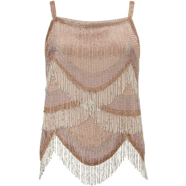Miss Selfridge Embellished Fringe Cami Top ($78) ❤ liked on Polyvore featuring tops, cream, women, fringe vest, camisole tops, brown tank top, cami tank and fringe tank top