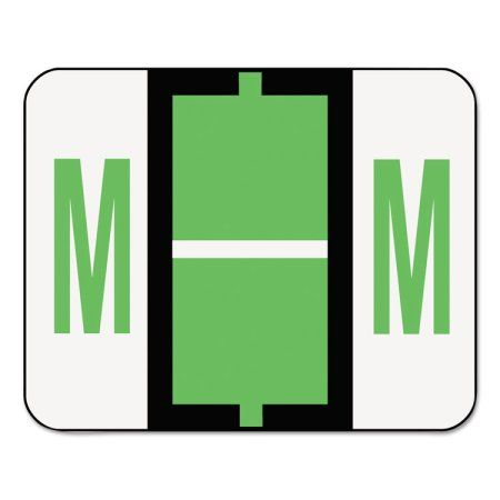 Smead A-Z Color-Coded Bar-Style End Tab Labels, Letter M, Light Green, 500/Roll - SMD67083