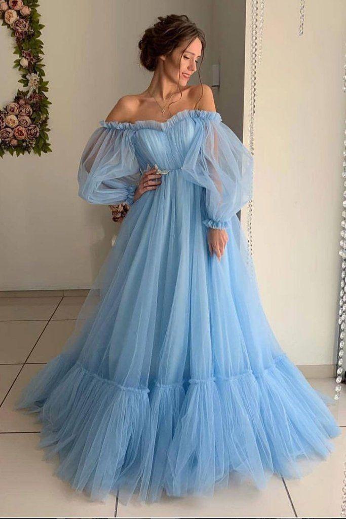 Sky Blue Tulle Off the Shoulder Long Prom Dress, Elegant Evening Dresses OKJ43