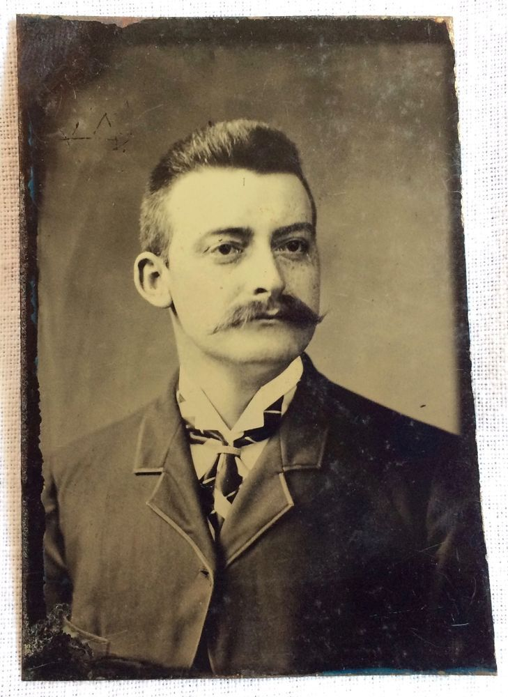 Tintype of Dapper Man with Mustache & Upswept Hair in Suit and Tie Antique Image