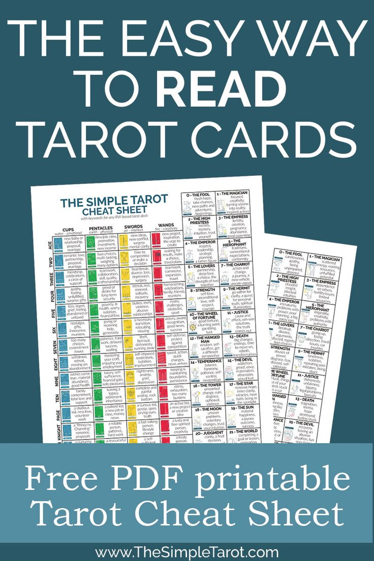 Free tarot cheat sheet with simple tarot card meanings